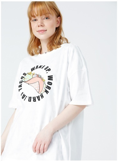 Limon Company Limon Rimo Ekru Bisiklet Yaka Görsel Baskılı Kadın T-Shirt Ekru